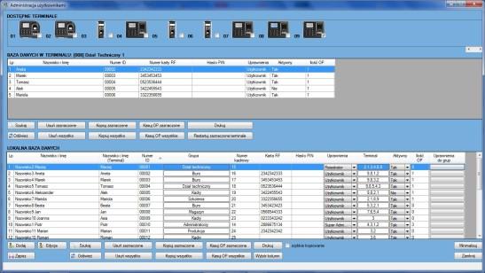 Widok okna głównego modułu Administracja użytkownikami