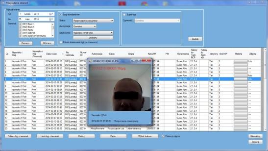 Widok okna głównego modułu Przeglądanie zdarzeń KD/RCP