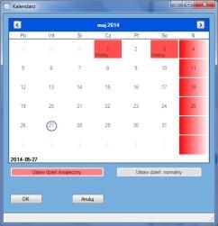Widok okna Kalendarz